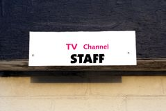 TV Channel Staff sign Stock Images