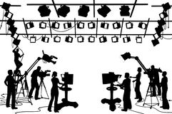 TV Channel Studio Crew. Vector clip art set of TV channel studio crew, including cameras, lights, camera men, technicians and recordists royalty free illustration