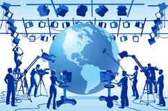 TV Channel Studio Crew. Vector clip art set of TV channel studio crew, including cameras, lights, camera men, technicians and recordists, with an earth globe royalty free illustration