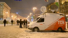 TV channels on Euro maidan meeting in Kiev, Ukraine, stock video footage