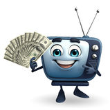 TV character with dollars Stock Photography