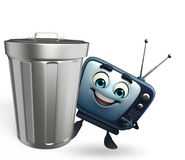 TV character with dustbin Royalty Free Stock Images