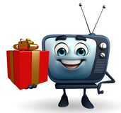 TV character with gift box Royalty Free Stock Photography