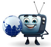 TV character with globe Stock Photos