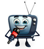 TV character with mike Royalty Free Stock Image