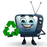 TV character with recycle icon Royalty Free Stock Photography
