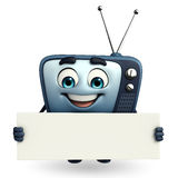 TV character with sign Royalty Free Stock Image