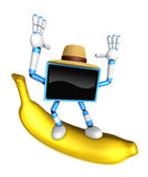 TV character standing on a big banana. Create 3D Television Robo Royalty Free Stock Photos