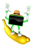 TV character standing on a big banana. Create 3D Television Robo Stock Photos