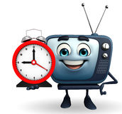 TV character with table clock Royalty Free Stock Images