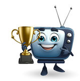 TV character with trophy Royalty Free Stock Photo