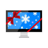 TV with Christmas background. On the screen Royalty Free Stock Photo