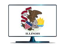 Illinois State Flag TV On White. A TV or computer screen with the Illinois state flag Royalty Free Stock Photography