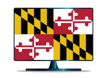 Maryland State Flag TV On White. A TV or computer screen with the Maryland state flag Royalty Free Stock Images