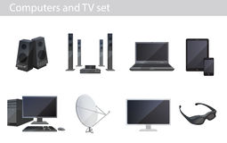 Tv and computers electronics vector set Royalty Free Stock Images