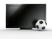 TV con el soccerball Foto de archivo
