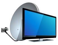 TV con la antena de satélite Imágenes de archivo libres de regalías