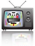 TV con la pantalla de la prueba sin señal Fotografía de archivo