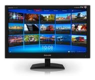 TV con pantalla grande con fluir la galería video Fotos de archivo