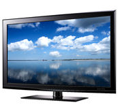 TV con pantalla grande moderna Fotografía de archivo libre de regalías