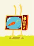 TV-conejo de la historieta con la zanahoria en la pantalla Ilustración del vector Imagenes de archivo
