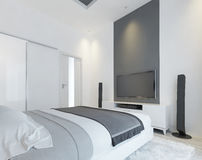 TV console with speakers in the modern bedroom. Stock Photo