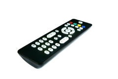 Tv control. Black TV remote isolate on white background Stock Images