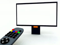 TV Control And TV 24. A image of a television remote control and a blank television screen you can fill in Royalty Free Stock Photos