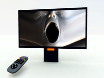 TV Control And TV 5. A image of a television remote control with a horror program on Stock Images
