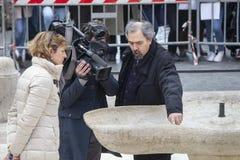 TV crew Italian national network. Fountain damaged by Dutch soccer fans Feyenoord. Rome royalty free stock photos