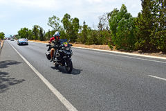 TV Crew Motorcycle La Vuelta España Stock Image