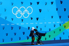 TV crew work at the Maria Lenk Aquatic Center during synchronized swimming duet technical routine at the 2016 Summer Olympics. RIO DE JANEIRO, BRAZIL - AUGUST 15 Royalty Free Stock Photos