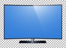 TV curvada de 4k la pantalla ultra HD, TV llevada aisló el fondo del transparancy Imagen de archivo libre de regalías