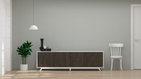 Tv dark color wood cabinet and chairs in the room 3d illustration furniture,modern home designs,shelves and books on the desk in f. Ront of clean wall mock up royalty free illustration