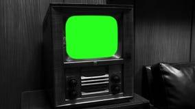 TV de madera vieja con la pantalla verde Enfoque adentro Tono blanco y negro