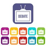 TV with the Debate inscription icons set flat Royalty Free Stock Photos