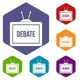 TV with the Debate inscription icons set hexagon Royalty Free Stock Photography