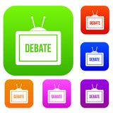 TV with the Debate inscription set color collection Royalty Free Stock Images