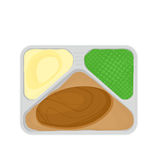 Tv dinner with food Royalty Free Stock Photo