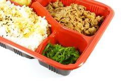 TV Dinner Set. With Beef, Rice and Vegetables Royalty Free Stock Photo