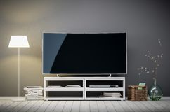 Tv display with blank screen in living room stock photography