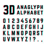 Tv distortion 3D effect stereoscopic, anaglyph alphabet and numbers Stock Image