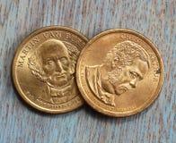 Två dollarmynt Arkivfoton