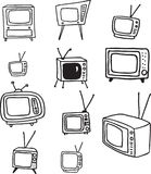 TV Doodles. Hand drawn doodles of retro television sets Royalty Free Stock Images