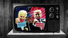TV Duel Donald Trump Joe Biden, American election 2020 final fight, boxing match, TV debate. Original animation on TV screen retro