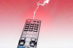 Tv dvd remote control isolated. On red background royalty free stock photos