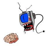 TV eat your brain. Caricature cartoon vector TV eat your brain Stock Images