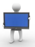 TV ed uomo su priorità bassa bianca Fotografia Stock Libera da Diritti