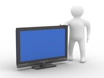 TV ed uomo su priorità bassa bianca Fotografie Stock