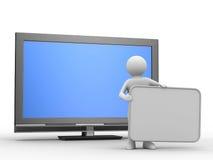TV ed uomo su priorità bassa bianca Fotografie Stock Libere da Diritti